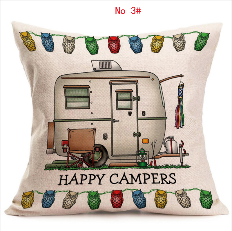 Happy Campers RV Linen Cotton Pillow Covers, Sofa Pillow Case